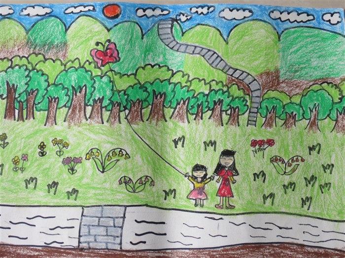 """孩子们的绘画作品""""春天来了"""""""