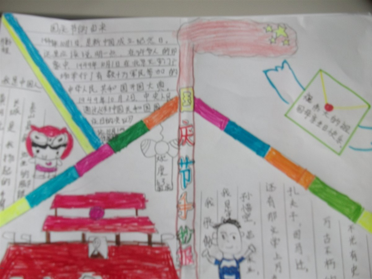 """""""祖国在我心中,向国旗敬礼""""手抄报展 五年级(1)班(班)"""