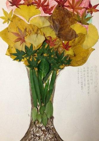树叶是用马褂树叶,枫叶和银杏叶做的