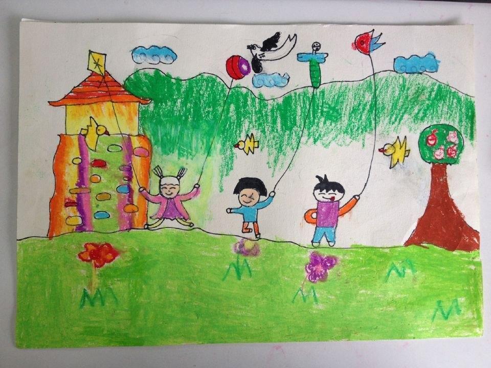 """我眼中的春天——多彩的""""风筝节""""--班级绘画作品 淮河图片图片"""