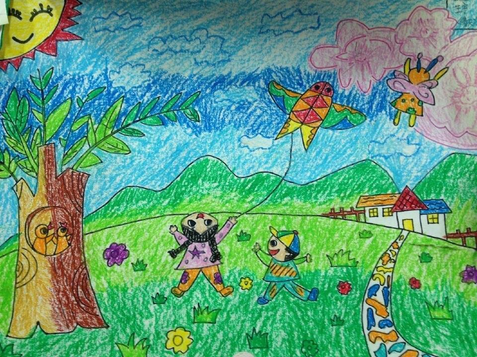 """我眼中的春天——多彩的""""风筝节""""--班级绘画作品"""