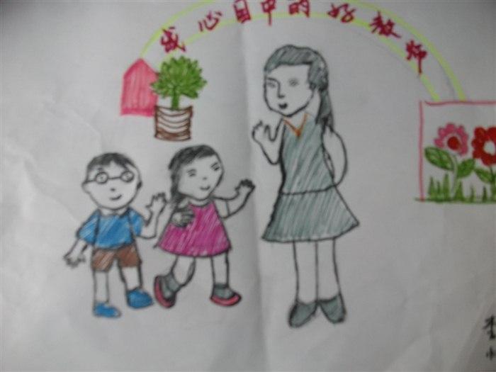孩子们用画笔绘画自己心目中的小学